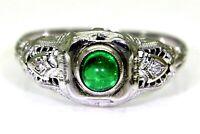 Art Deco Emerald Cabochon & Diamond 18ct White Gold Filigree Ring O 1/2 ~7 1/2