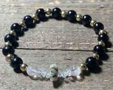 RARE RUSSIAN PHENACITE HERKIMER DIAMOND BLACK TOURMALINE BRACELET