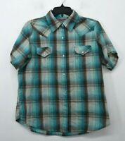 Wrangler Women Plaid Short Sleeve Pearl Snap Front Flap Pocket Wrancher Shirts L