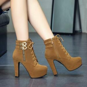 Women's Ankle Boots High Block Heels Buckle Decor Lace Up Suede Shoes Brown 10.5