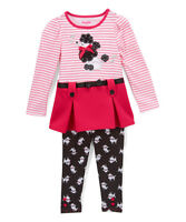 NWT Nannette Girls Poodle Pink Striped Tunic & Leggings Outfit Set 2T 3T 4T 5 6