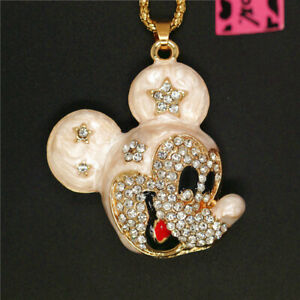 New  Betsey Johnson White Crystal Cute Enamel Mouse Head Sweater Chain Necklace