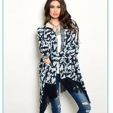 Aztec Print Blue FringeTrimmed Cardigan/sweater Small MSRP $60 Nwt