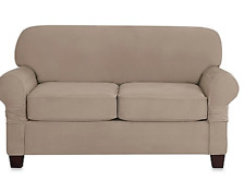 Sure Fit Loveseat Slipcover Stretch Suede Linen Box -T Style Seat Cushion 2-Seat