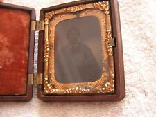 Antique Tin Type Photo of Woman  in Case