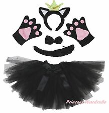Halloween Party Adult Women Crown Black Cat Headband Paw Tail Bow Skirt Costume