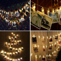 6M 40LED Hanging String Lights with Card Photo Clip for Bedroom Room Party Decor