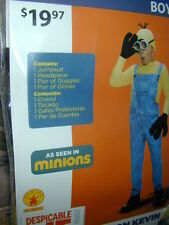 HALLOWEEN COSTUME:Minion Kevin Despicable Me Boy L Jumpsuit Hat Gloves+ Cosplay