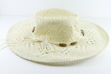 CREAM STRAW SUMMER THEME VINTAGE  CUT OUT TIED ROPE DESIGN COWBOY HAT (HT18)