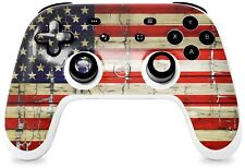New listing Skin for Google Stadia Controller Painted Faded and Cracked Usa American Flag