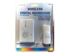WIRE FREE WIRELESS DOOR CHIME SET KIT 16 TUNES SOUNDS BELL BATTERY OPERATED