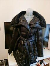 Elegant/casual black medium length womens parka fur collar uk 14 eu L