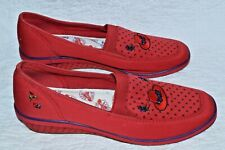 Sz 8.5  Red Hat Society Shoes Grasshoppers Keds Polka Dots Wedge Purple Flowers