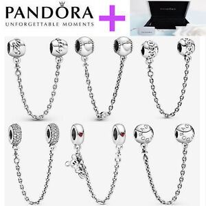 NEW Genuine Silver Pandora Logo Safety Chain Charm ALE S925 & With Gift Box