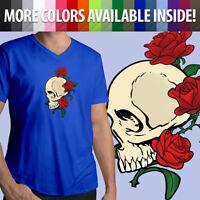 Skull Roses Flowers Skeleton Bones Tattoo Gothic Cool Mens Tee V-Neck T-Shirt