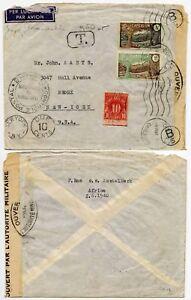 CAMEROON CAMEROUN to USA POSTAGE DUE TAXE 10c CENSORED + MACHINE CANCEL 1940