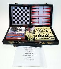 6 in 1 Game Set Backgammon Chess Dominoes Checkers Cribbage Playing Cards
