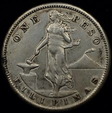 FOREIGN AUCTION NIGHT! XF DETAILS 1907-S PHILIPPINES SILVER PESO. KM #172 #3