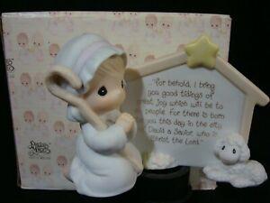 Precious Moments Nativity-Shepherd/Lamb/Luke 2:10-11 Retired-Very Hard To Find