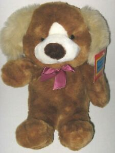 Vintage 1982 A&B Novelty Puppy Dog Brown Tan Ears White Muzzle Plush Stuffed Toy