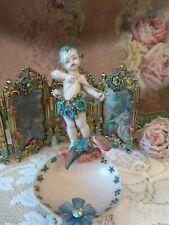 Michal Negrin Victorian Cherub Cupid Figurine Depose Italy Crystals Shabby Wow