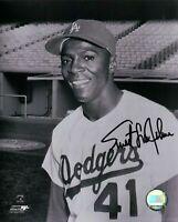 Sweet Lou Johnson Signed 8X10 Photo Autograph Dodgers B/W Black Ink Auto w/COA