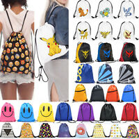 String Drawstring Backpack Cinch Sack Bag School Tote Gym Sport Pack Shoes Bags