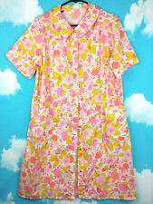 Vintage Hawaiian Print Night Gown Womens One Size Neon Floral Misses Jcpenny Pjs