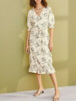 NEXT Ecru Floral Print Linen Blend Midi Wrap Dress Size 20 Tall  BNWT RRP £35 💙