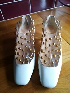 Christian Louboutin Space Odd 55 White & Gold Patent Leather Ankle Boots 38 UK 5