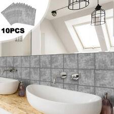 10Pcs Self-adhesive Tiles Wall Brick Sticker Kit Kitchen Bathroom Wall Art UK