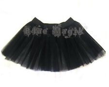 Girls Black Gothic 2 Layers Witch Halloween Tutu Skirt Fancy Dress One Size 6-14