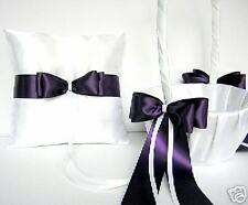 Wedding Accessories Royal Purple Flower Girl Basket Ring Bearer Pillow Ur Colors