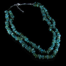 2 Strand .925 Sterling Silver Natural Turquoise Nugget Necklace