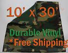 10' x 30' Heavy Duty 18 oz Vinyl Camo Camouflage Tarp Ground Cover Blind