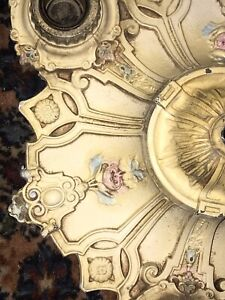 PR. 1920s Art Deco Cast Iron 3 Light Flush Mount Ceiling Fixture Roses!