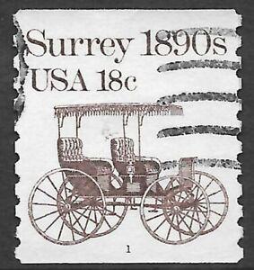 U.S. Scott #1907 18c Surrey Stamp USED PS1 Plate #1 VF Cat. $8.00