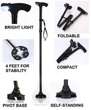 Self Stand up Cane With Light - Foldable - Adjustable - Hurry before They Go