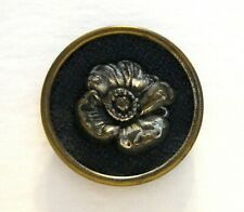 Large Vintage Button SAM BIERN N.Y.C.  Cupped Brass with Poppy Grey Fabric