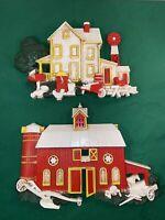 Vtg 2pc Set Small 1975 HOMCO Farm House & Barn Plastic 3D Wall Plaques