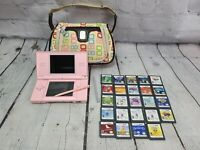 Nintendo DS Lite USG-001 PEARL PINK w/ 24 Games + Charger & Carrying Case