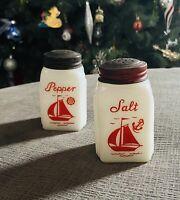 Vintage McKee Milk Glass Salt & Pepper Shakers + Lids- Roman Arch - Red Sailboat