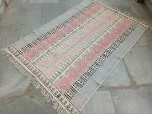 Indian Variations Block Printed Multi Color Rag Rug Yoga Floor Door Mat Carpets