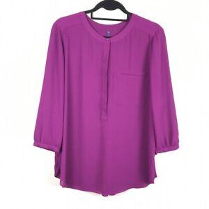 NYDJ 3/4 Sleeve Purple Popover Tunic Blouse Shirt Size PL Petite Large