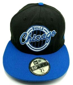 CHICAGO BULLS hat fitted black / blue cap USA Made Wide Brim size 7 5/8 (XL)