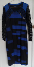 Aria Ladies Blue & Black Dress Lace Sleeves size 12