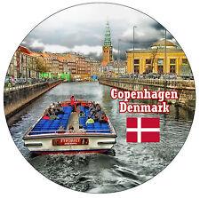 COPENHAGEN, DENMARK,  FLAG / SIGHTS - ROUND SOUVENIR FRIDGE MAGNET - NEW - GIFT