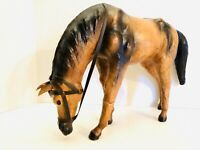 """Vintage Stallion Horse Paper Mache With Leather Accent 9""""x13"""""""