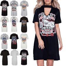 Womens Ladies Rock America Choker Neck Tunic Longline Oversized T Shirt Dress
