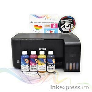 A4 Sublimation Printer Bundle: EPSON ET-2710 + 4 x 100ml Ink + Paper - None OEM